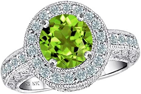Star K 7mm Round Simulated Peridot and Cubic Zirconia Ring