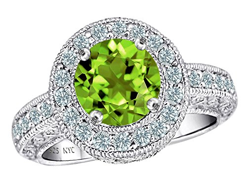 Genuine Peridot Ring Stone (Star K 7mm Round Genuine Peridot and Cubic Zirconia Ring Sterling Silver Size 5)