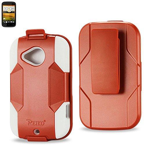 Reiko SLCPC09-HTCH1000ORWH Silicone Case/Protector Cover for HTC Desire C H1000C - Retail Packaging - Orange/White (Htc Desire C Cover compare prices)