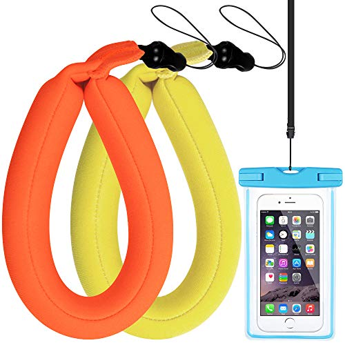 Waterproof Camera Float Foam Strap, SourceTon Floating Wrist Strap for Underwater Camera & Cellphones, Keys and Sunglasses, Bonus an Universal Waterproof Case for Cellphone