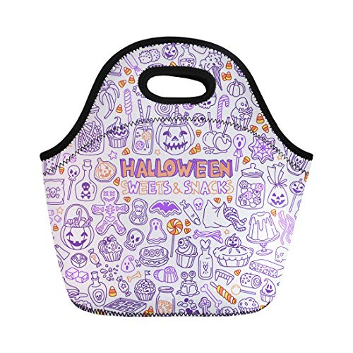 Semtomn Lunch Bags Candy Halloween Candies Sweets Snacks and Drinks for Trick Neoprene Lunch Bag Lunchbox Tote Bag Portable Picnic Bag Cooler Bag -