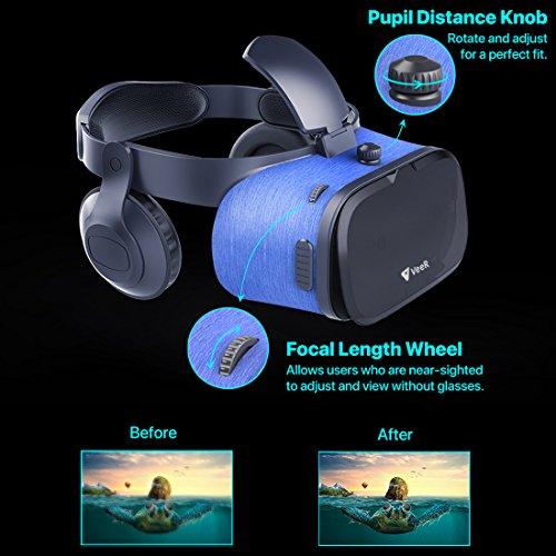 [해외]VeeR OASIS VR 헤드셋, HD 블루 글래스 렌즈가 장착 된 3D 가상 현실 고글, 울트라 라이트 바디, 4 - 6.2 인치 iOS 안드로이드 스마트 폰, S/VeeR OASIS VR Headset, 3D Virtual Reality Goggles with HD Blue Glass Lens, Ultra Light Body, Compat...