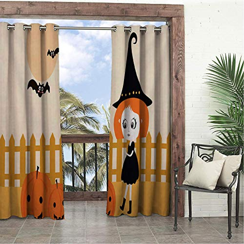 Linhomedecor Balcony Waterproof Curtains Halloween Cute Cartoon Pumpk Little Witch pergola Grommets Backdrop Curtain 120 by 72 -