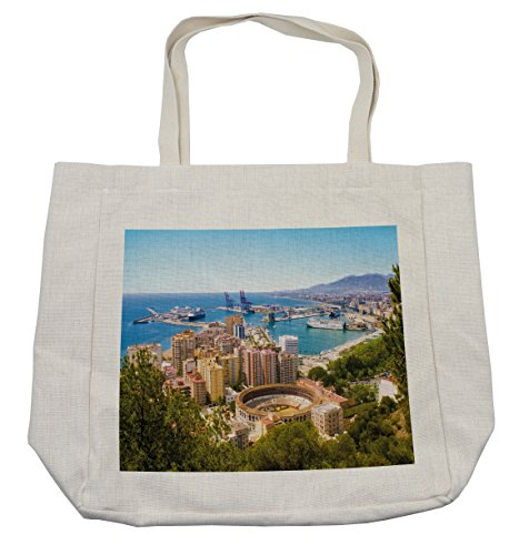 Lunarable Landscape Shopping Bag, Aerial View of Malaga with Bullring and Harbor Spain Traditional European City, Eco-Friendly Reusable Bag for Groceries Beach Travel School & More, Cream by Lunarable