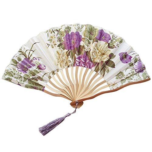 Hand Held Fans Silk Bamboo Folding Handheld Folded for Church Wedding Hand Fan Cool Bamboo Flower Personalized 19feb19,H
