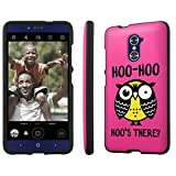 ZTE [Grand X Max 2] [Imperial Max] [Max Duo] Phone Case [SlickCandy] [Black] - [Hoo is There Owl] Hard Protector Snap Designer Shell Case for ZTE [Z963U] [Z936VL Z962BL]