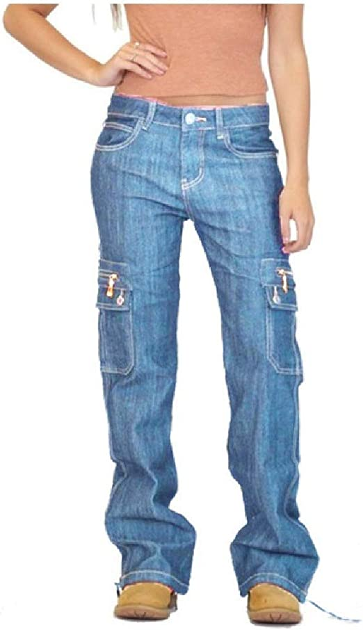 Nicellyer Women's Casual Loose Baggy Cargo Pant Outdoor Denim Jeans