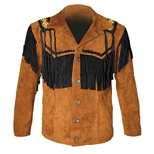 MSHC Western Cowboy Men's Brown Fringed Suede Leather Jacket D1 - Camel Brown V2 - Large