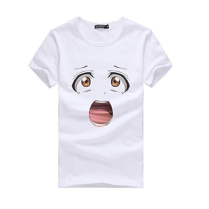 Luckycat Camisetas de Verano para Mujer Impreso Manga Corta Tops Blusa Casual Señoras Camisetas de Algodón: Amazon.es: Ropa y accesorios