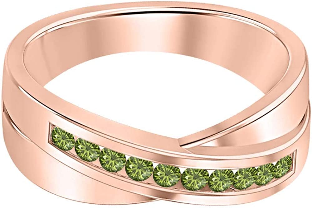 SVC-JEWELS 14K Rose Gold Over 925 Sterling Silver Round Cut Green Tourmaline Criss Cross X Wedding Band Ring Men