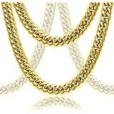 DubaiLink Premium Cuban Link Solid 18k Gold Thick Plated Men's Chain Set (Bracelet & Necklace)