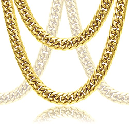 Gold Handmade Link Chain (Premium Cuban Link Solid 18k Gold Thick Men's Chain Set (Bracelet & Necklace))
