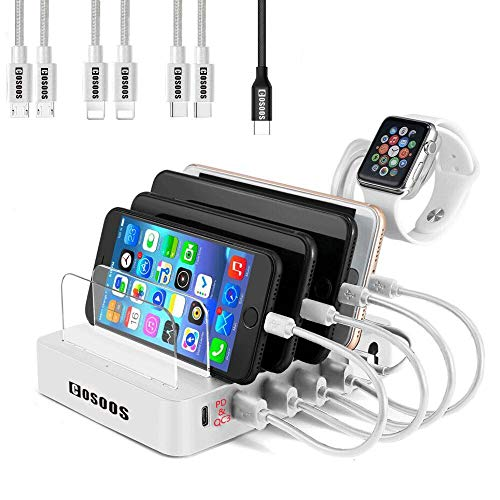 COSOOS Charging Station for Multiple Devices,90W Charger Station with Power Delivery PD & QC3, 7 USB Cable(4 Type),lwatch Stand,6-Port USB Charging Station MacBook Pro/Air,USB-C Laptop