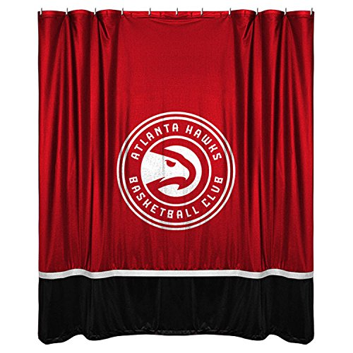 NBA Atlanta Hawks Shower Curtain, 72 x 72, Bright Red