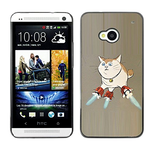 All Phone Most Case / Hard PC Metal piece Shell Slim Cover Protective Case for HTC One M7 Cat Space Ship Art Super Powers Funny Art