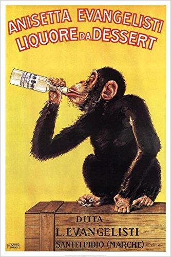 Buyartforless Vintage liquor Dessert Drunk Monkey 36x24 Poster Art Print Vintage (Drunk Monkey)