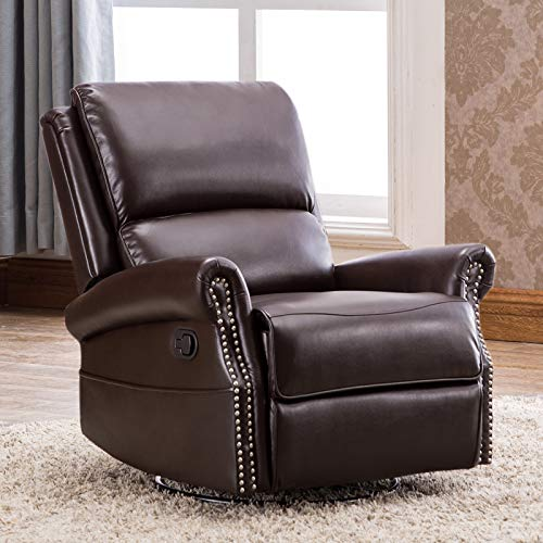 CANMOV Breathable Bonded Leather Recliner Chair, Contemporary Design Single Seat Sofa Manual Recliner Chair with Overstuffed Back, ()