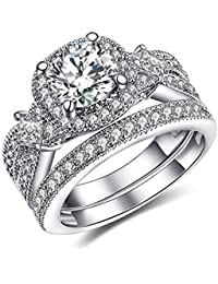 925 Solid Sterling Silver Bridal Wedding Band Engagement Ring Sets with Cushion and Princess Cut Cubic Zirconia