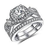 GuqiGuli 925 Solid Sterling Silver Princess and Cushion Cut Cubic Zirconia Bridal Wedding Band Engagement Ring Sets Size 11