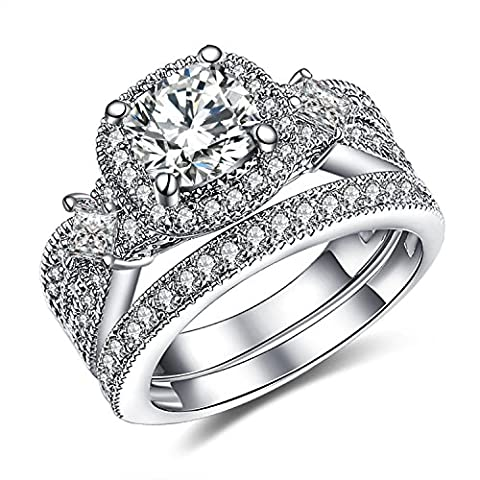 GuqiGuli 925 Solid Sterling Silver Princess and Cushion Cut Cubic Zirconia Bridal Wedding Band Engagement Ring Sets Size (Promise Ring Size 5 White Gold)
