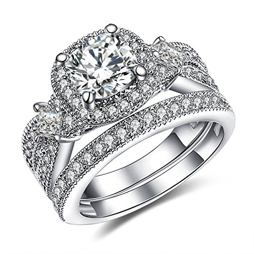 GuqiGuli 925 Solid Sterling Silver Princess and Cushion Cut Cubic Zirconia Bridal Wedding Band Engagement Ring Sets Size 6