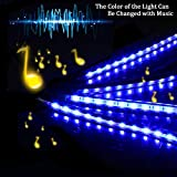 SurLight Car LED Lights 4pcs 72 LED DC 12V Multicolor Music Car Strip Light Interior LED Under Dash Lighting Kit with Sound Active Function and Wireless Remote Control, Car Charger Included