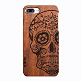 CoCo@ iPhone 7 Plus case, Iphone 7 Plus Wooden Case Wood Cover100% Unique Genuine Handmade Natural Wood Wooden Hard Bamboo Shockproof Case Like as Artwork for New Iphone 7plus (2016) (skull rosewood)