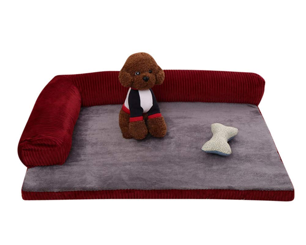 Red set XL(1109520 CM) Red set XL(1109520 CM) Deluxe Pets Mat Bed, Soft Washable Memory Foam Dog Bed for Medium and Large Dogs Solid color Pet Sofa Bed Jujube Red Set M-Red set-XL(110  95  20 CM)
