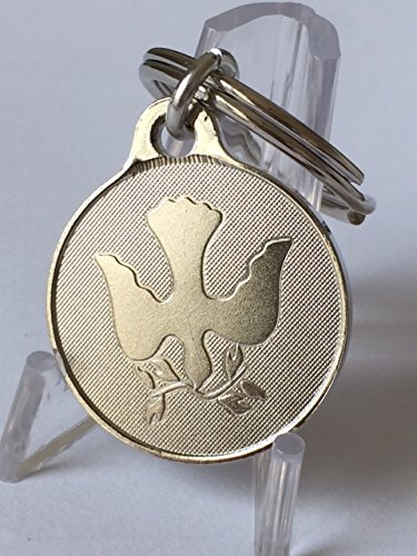 (Dove of Peace Olive Branch Key Chain Nickel 1
