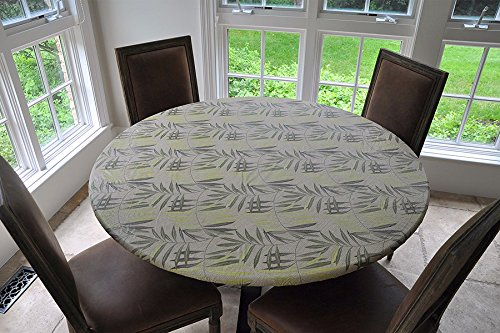 Elastic Edged Flannel Backed Vinyl Fitted Table Cover - FERN Pattern - Large Round - Fits tables up to 45