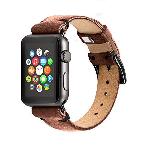 Benito Apple Watch Band 42mm ALL HANDMADE Full Grain Luxury Leather Replacement Band IWatch Strap Fit For Apple Watch Series 3 / Series 2 (2016) / Series 1 - (Cinnamon) (Black)