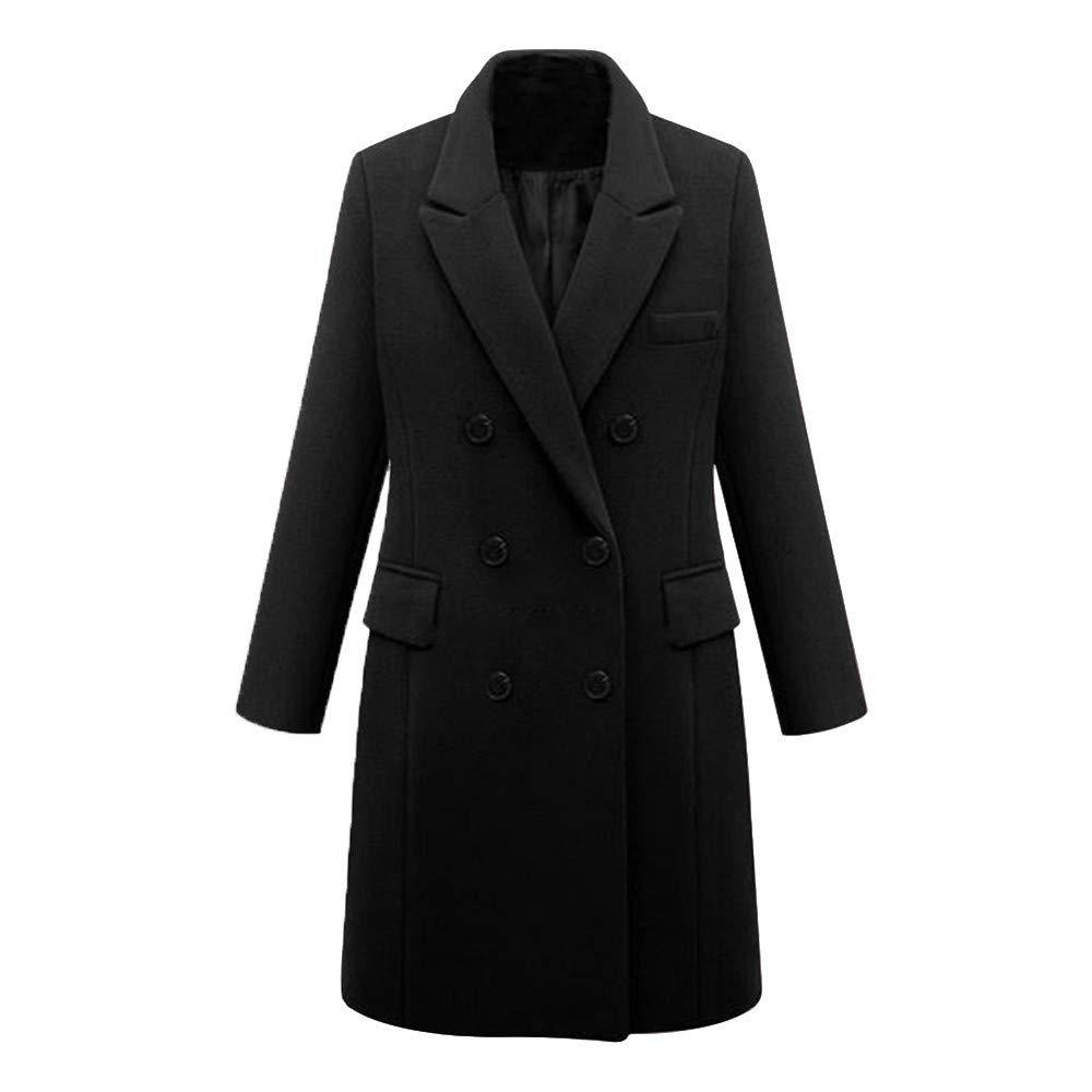 ALOVEMO Womens Winter Lapel Wool Coat Trench Jacket Long Sleeve Overcoat Outwear by ALOVEMO