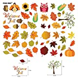 FRIDAY NIGHT 58PCS Thanksgiving Fall Autumn Leaves Acorns Window Sticker Decorations for Fall Decorations , Thanking Day , Autumn Party Decorations