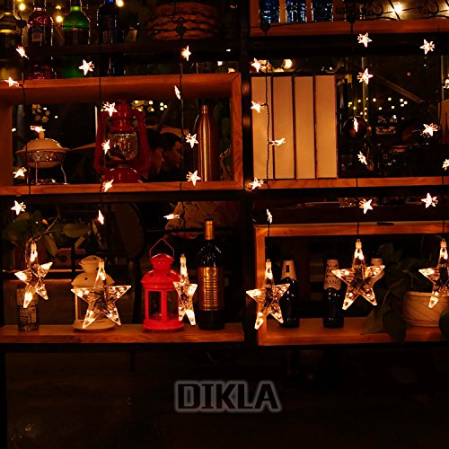 DIKLA Curtain lights, 3.3ft x 2.3ft 60 LEDs Waterproof Star Curtain Lights for Bedroom, Patio, Garden, Gate, Yard, Parties, Wedding , Warm White (Lights Bedrooms Christmas Tumblr)