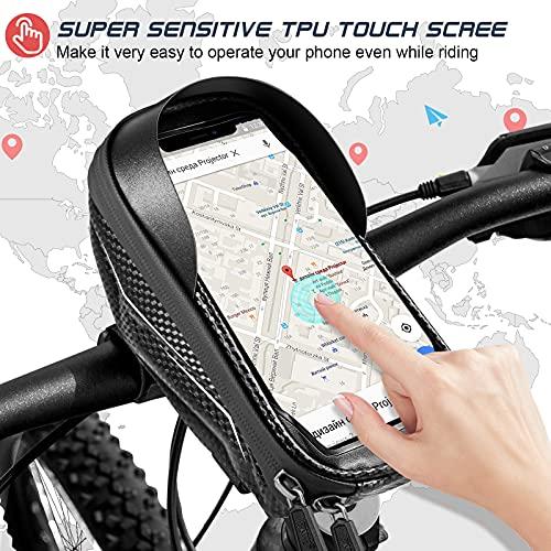 Porte téléphone vélo Etanche, Support Telephone Scooter Sacoche Guidon de Cadre Selle VTT Moto avec étui Tactile Transparent en TPU, résistant aux secousses pour Smartphone de 5 à 6,5 Pouce