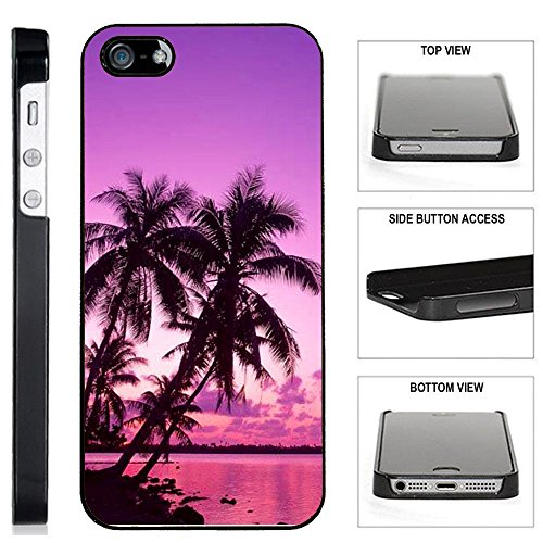 [TeleSkins] - Tropical PalmTrees Sunset Beach - iPhone SE/5 /5S Plastic Case - Ultra Durable Slim & HARD PLASTIC Protective Vibrant Snap On Designer Back Case / Cover. [Fits iPhone SE / 5 / 5S] (Wood Tree Iphone 5 Case)