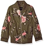 Members Only Big Girls' Cotton Bomber Jacket, Olive Floral, 10/12