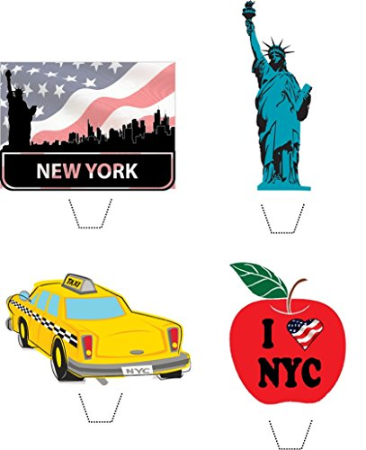 Novelty I Love New York Mix 12 Edible Stand up wafer paper cake toppers (5 - 10 BUSINESS DAYS DELIVERY FROM ()
