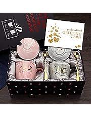 Mr and Mrs Coffee Mokken - Bruiloftgeschenken voor bruid en bruidegom, Bruidsdouche verloving cadeaus- en getrouwde koppels-keramische marmeren bekers 12 oz, twee mokken