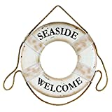 Seaside Welcome White 17.5 Inch Foam Hanging Boat Life Ring Wall Plaque
