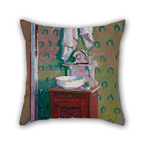 Country Washstand (16 X 16 Inches / 40 By 40 Cm Oil Painting Harold Gilman - Interior With A Washstand Cushion Covers Two Sides Ornament And Gift To Shop Deck Chair Boy Friend Pub Lounge Bedroom)