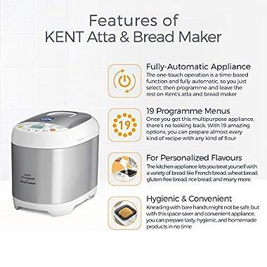 KENT - 16010 Atta and Bread Maker 550-Watt (Steel Grey) 8