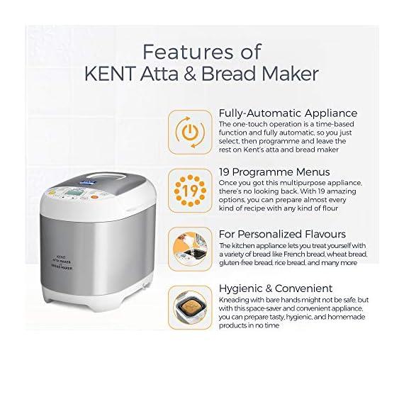 KENT - 16010 Atta and Bread Maker 550-Watt (Steel Grey) 2