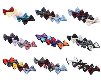 Bundle Monster Mens Tuxedo Adjustable Neck Bowtie Bow Tie 5pc Mixed Lot