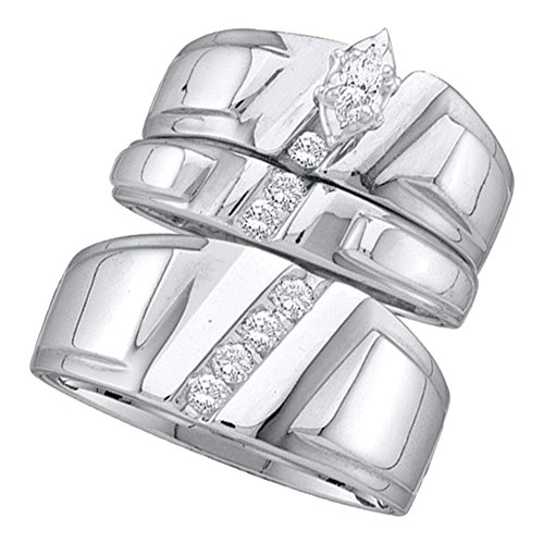 (Jewels By Lux 10k White Gold Marquise Diamond Solitaire Womens Mens Matching Trio Wedding Bridal Set 1/4 Cttw Ring Size 7.5)