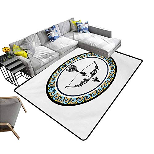 Floor Mat for Toilet Non Slip Zodiac Sagittarius,Victorian Inspired Bow and Arrow Design with Colorful Curves and Swirls,Multicolor 60