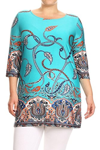 Women's Plus Size Print Relaxed Fit Tunic Top. MADE IN USA (3X, Turquoise/Abstract Print)