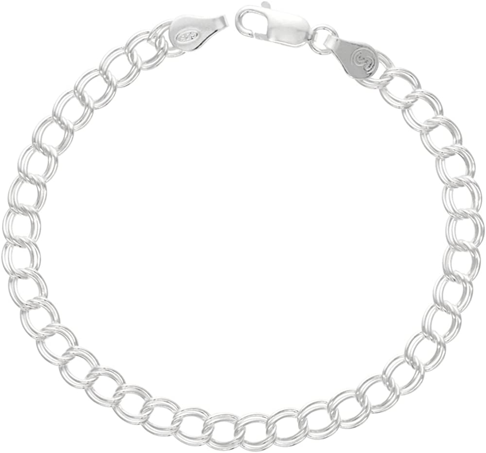 Sterling Silver Double Link Charm Bracelet Anklet Necklace 5.3mm -11 mm assorted sizes