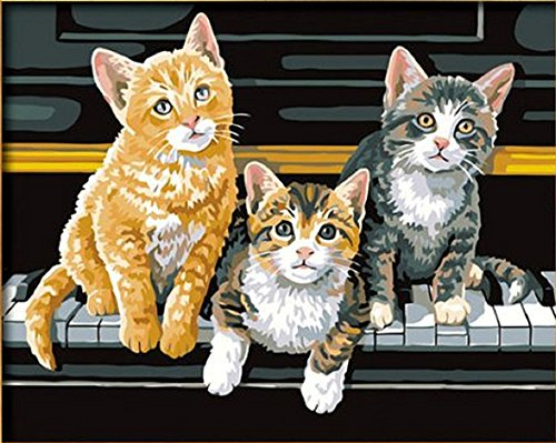 Three cats sit on piano Paint by numbers 16x20 inch Frameless