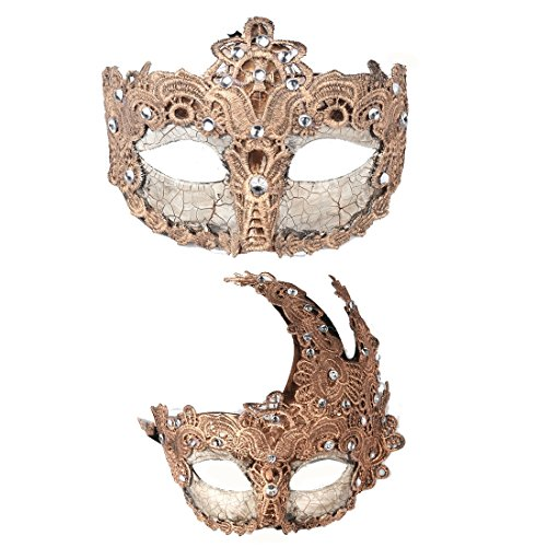 YUFENG 2pcs Venetian Masquerade Prom Party Masks Costumes Party Accessory]()